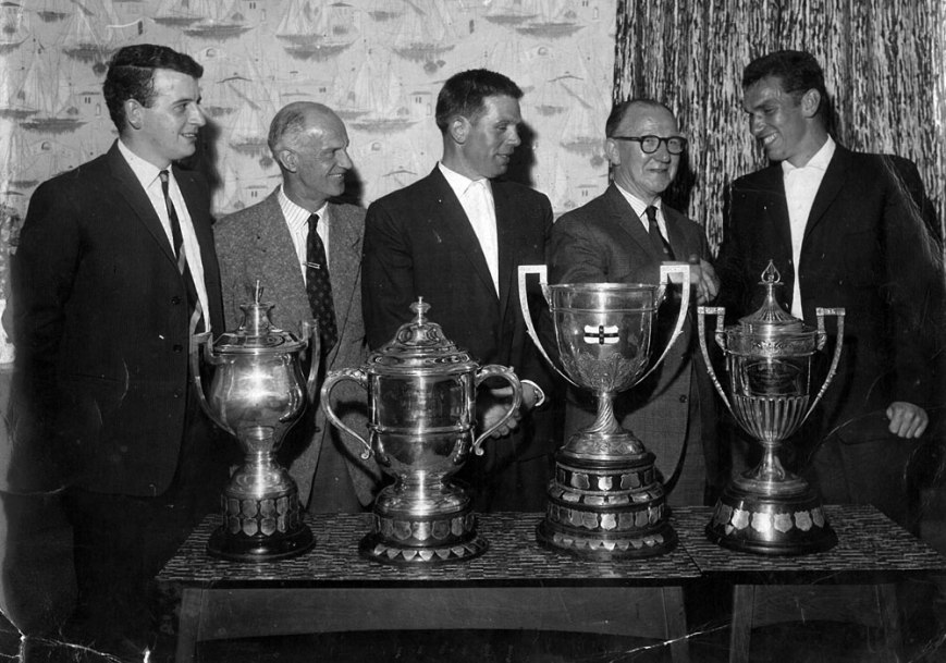 Pete Waddington (right) with the 1963 haul of trophies for Fryston Colliers FC